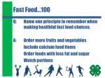 fast food 100