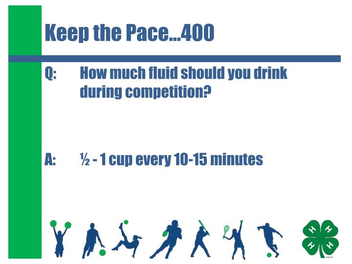 Keep the Pace…400