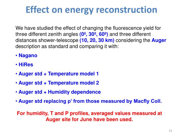 Effect on energy reconstruction