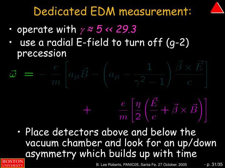 Dedicated EDM measurement:
