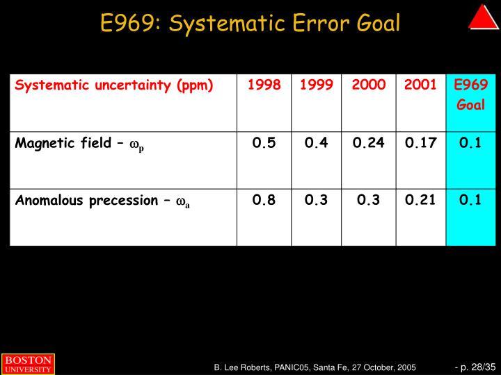E969: Systematic Error Goal