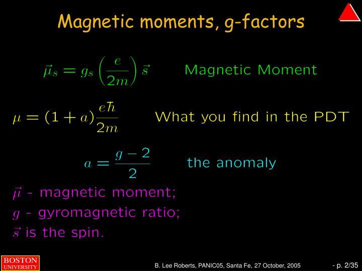 Magnetic moments, g-factors