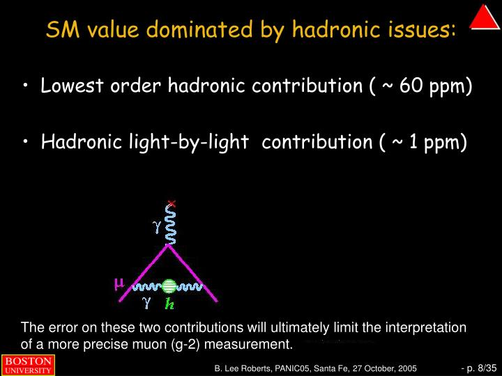 SM value dominated by hadronic issues: