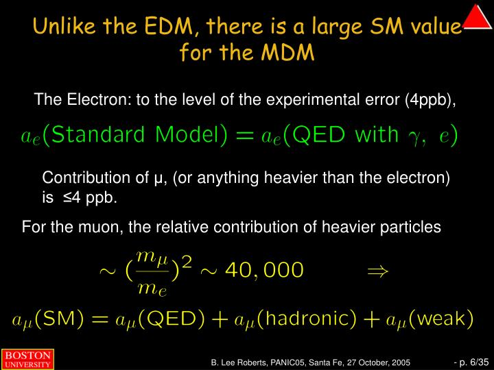 Unlike the EDM, there is a large SM value for the MDM
