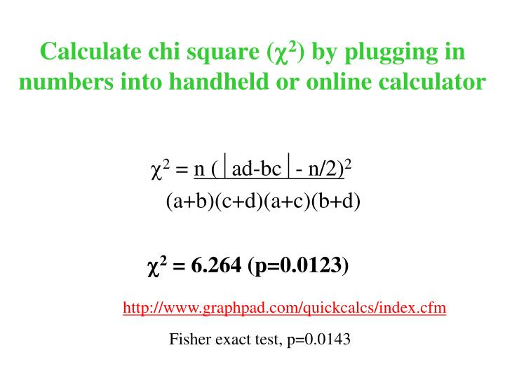 Calculate chi square (