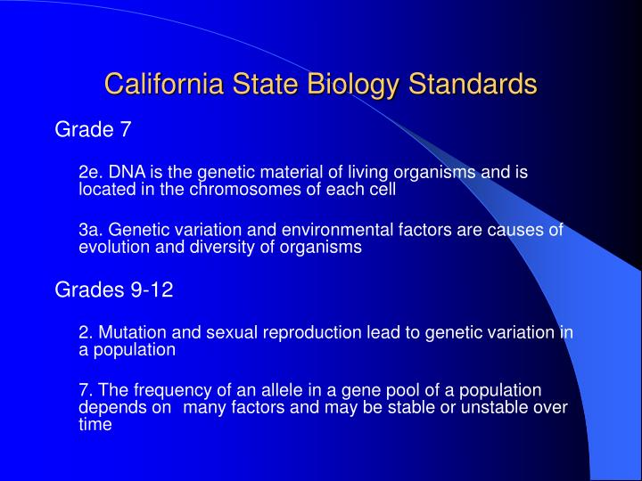 California State Biology Standards
