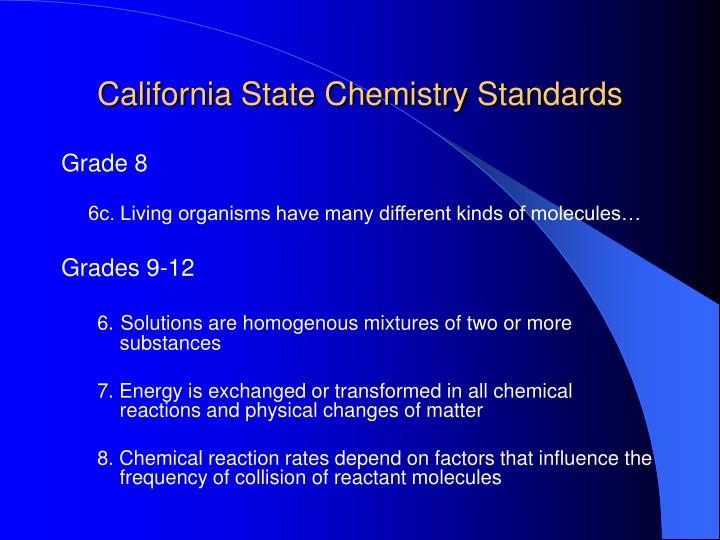 California State Chemistry Standards