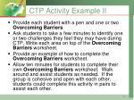 ctp activity example ii