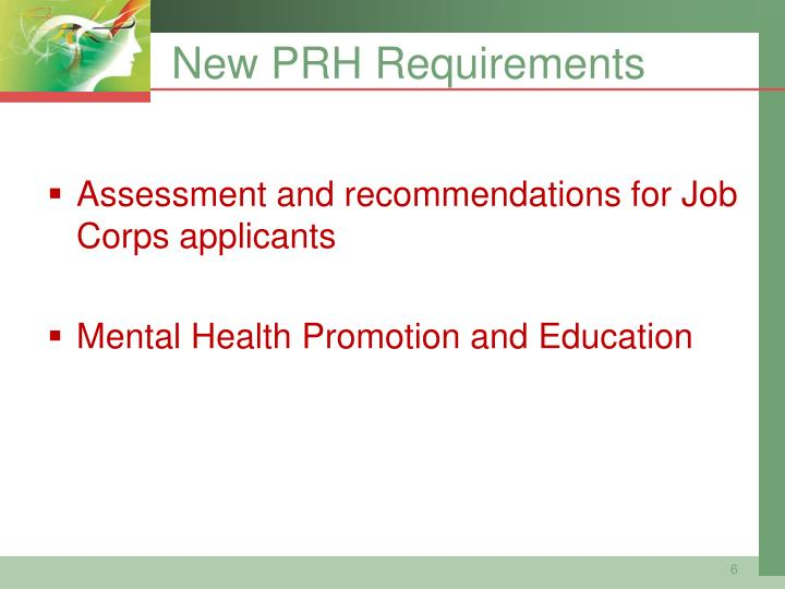 New PRH Requirements