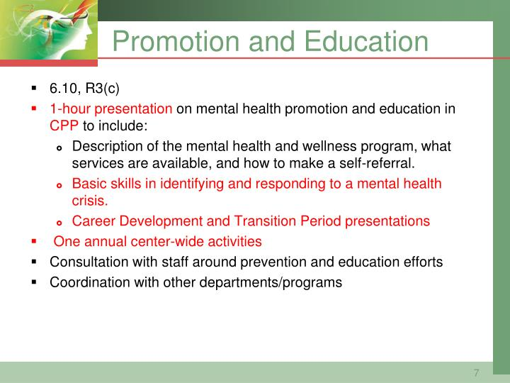 Promotion and Education