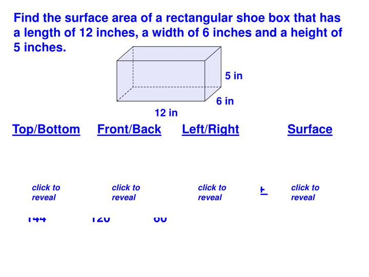 Find the surface area of a rectangular shoe box that has a length of 12 inches, a width of 6 inches and a height of 5 inches.