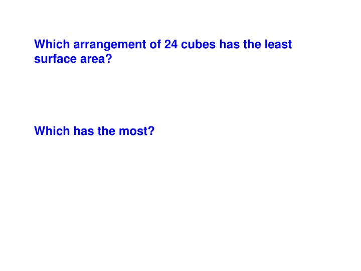 Which arrangement of 24 cubes has the least surface area?