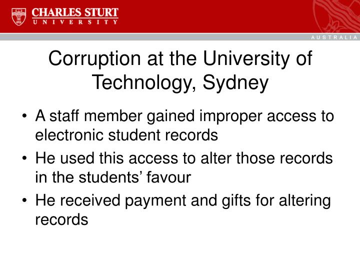 Corruption at the University of Technology, Sydney