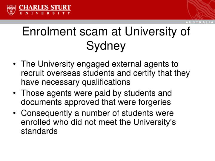 Enrolment scam at University of Sydney
