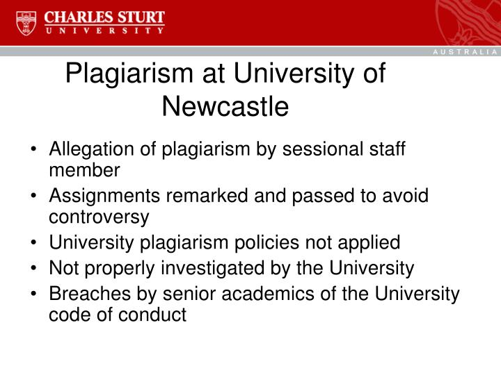 Plagiarism at University of Newcastle