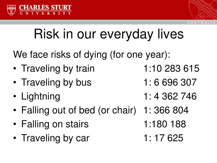 Risk in our everyday lives