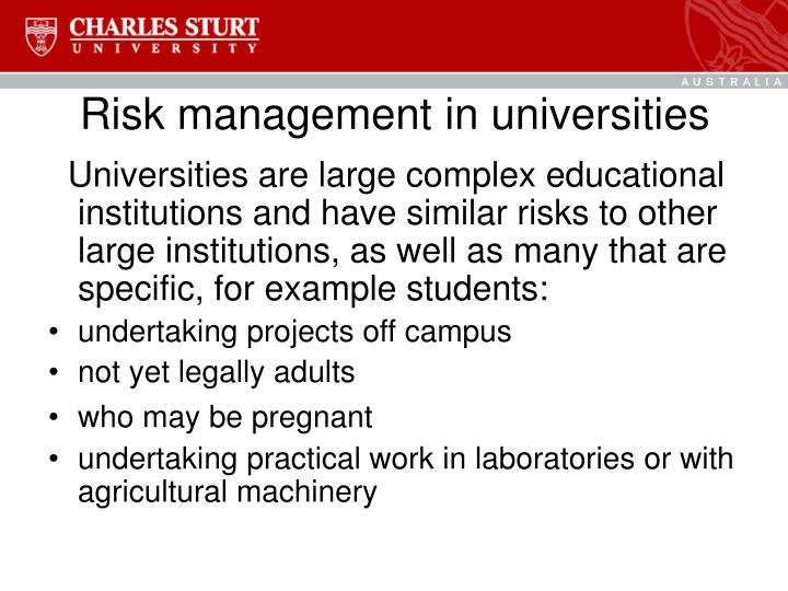 Risk management in universities