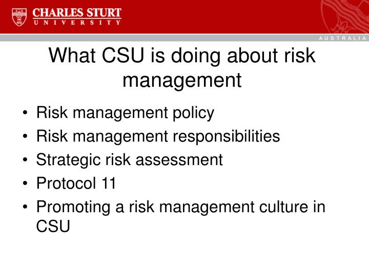 What CSU is doing about risk management