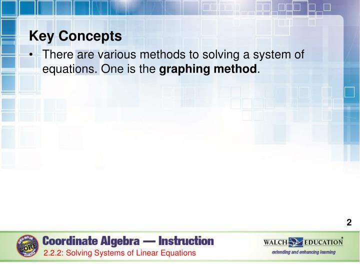 Key concepts there are various methods to solving a system of equations one is the graphing method