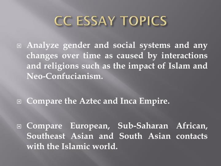 CC ESSAY TOPICS