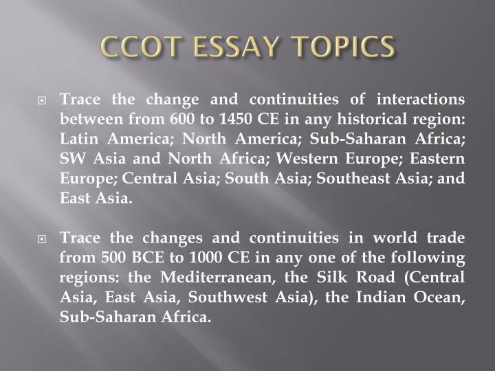 CCOT ESSAY TOPICS