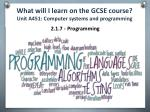 what will i learn on the gcse course unit a451 computer systems and programming6