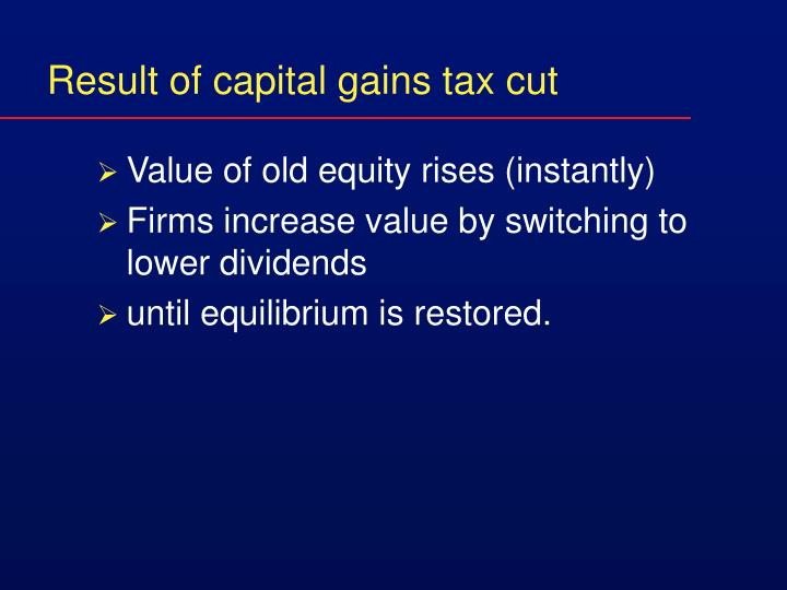 Result of capital gains tax cut