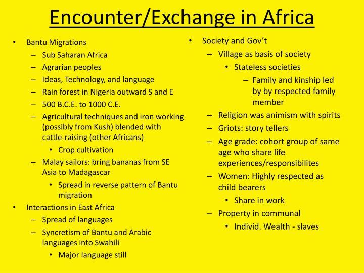 Encounter/Exchange in Africa