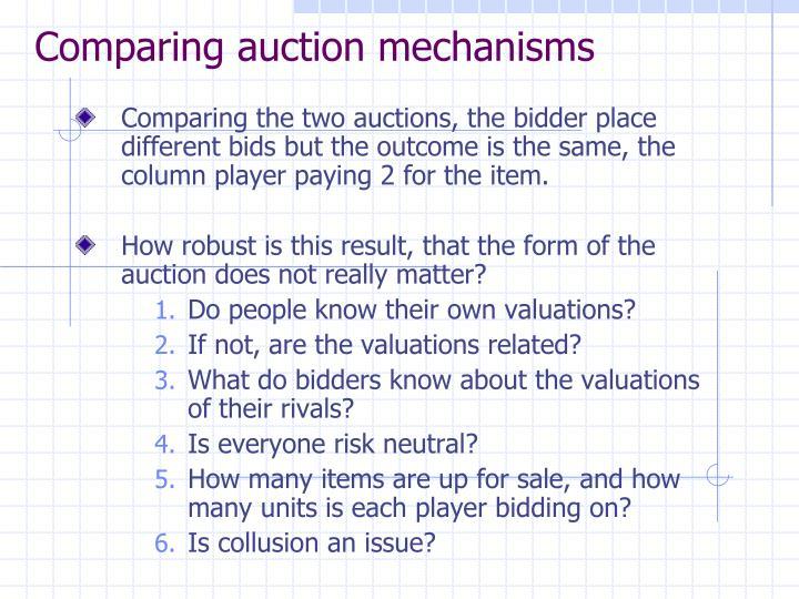 Comparing auction mechanisms