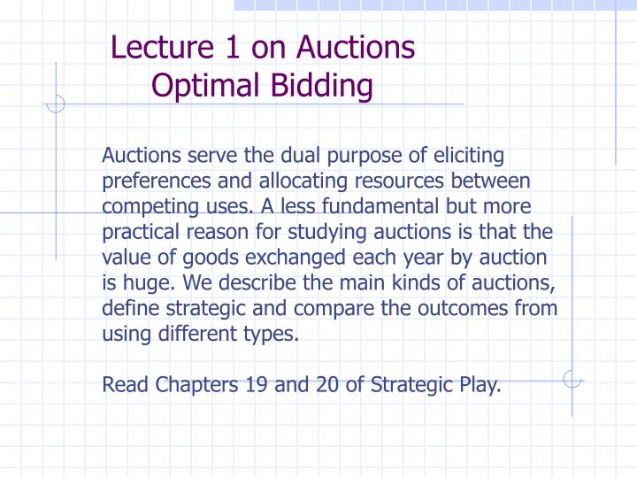 Lecture 1 on Auctions