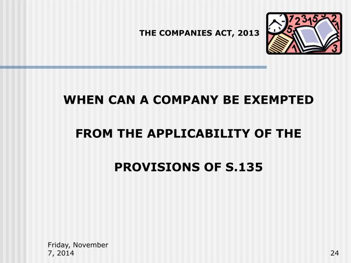 THE COMPANIES ACT, 2013