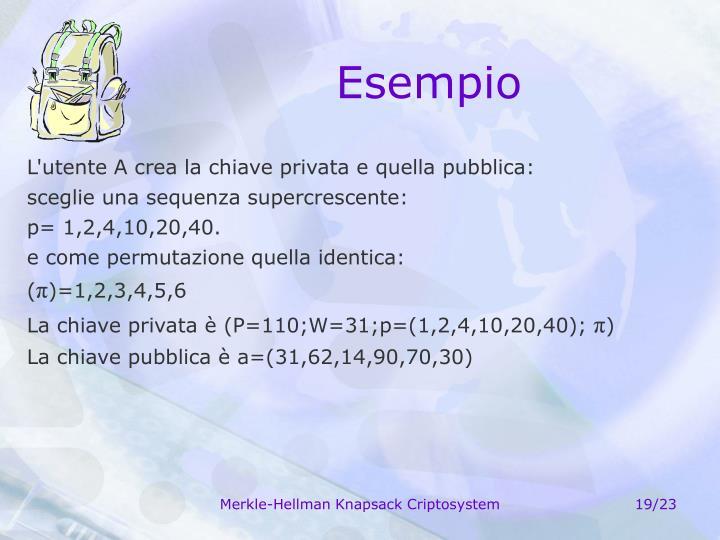 L'utente A crea la chiave privata e quella pubblica: