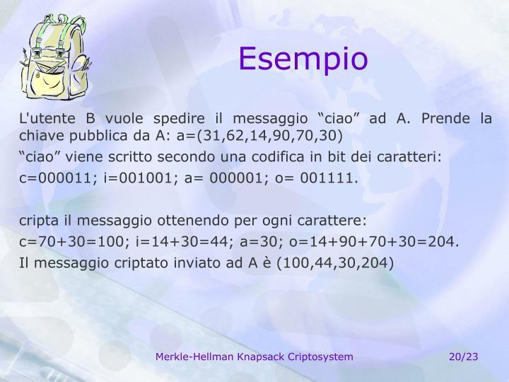 """L'utente B vuole spedire il messaggio """"ciao"""" ad A. Prende la chiave pubblica da A: a=(31,62,14,90,70,30)"""