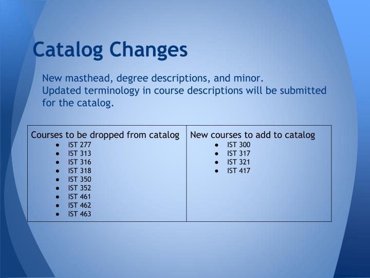 Catalog Changes