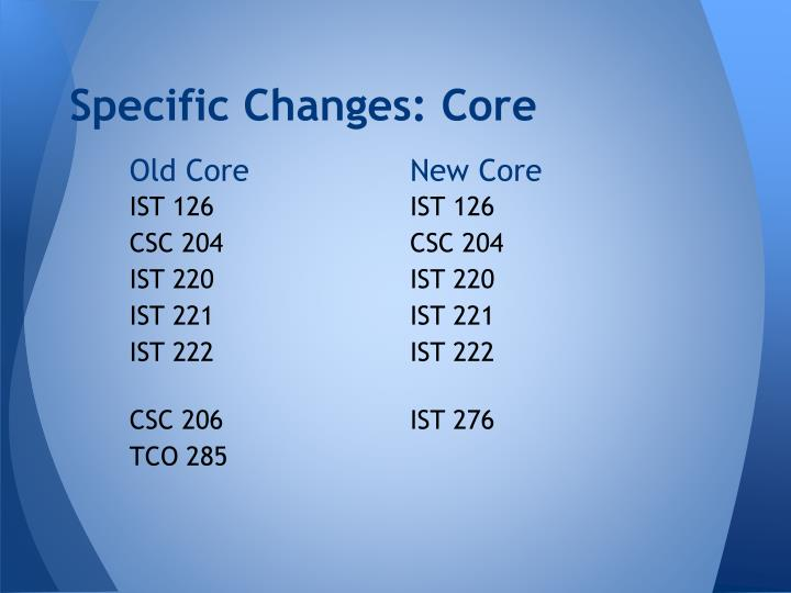 Specific Changes: Core