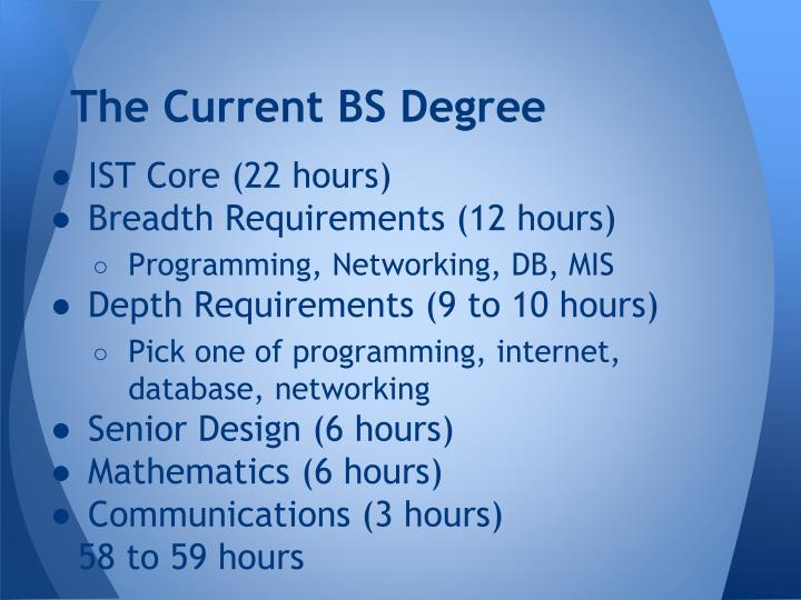 The Current BS Degree