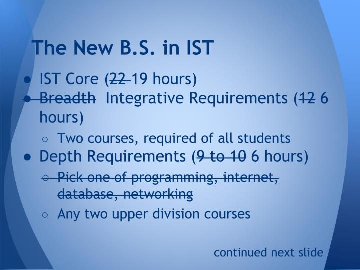 The New B.S. in IST