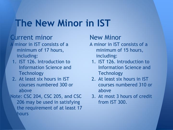 The New Minor in IST