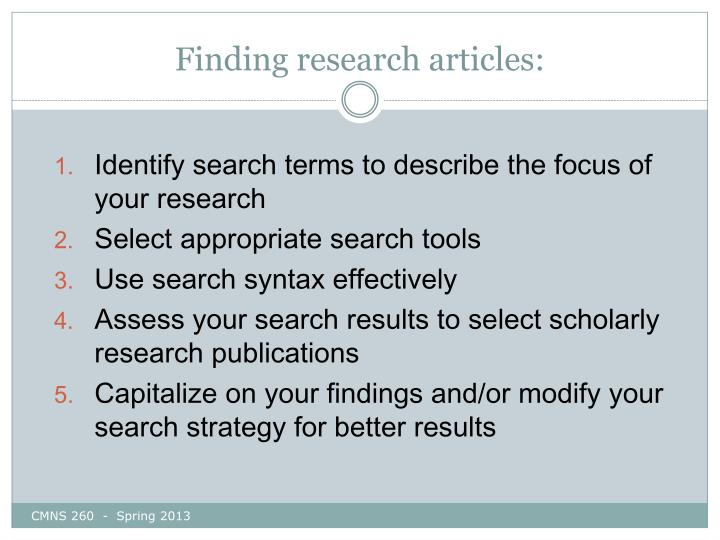 Finding research articles: