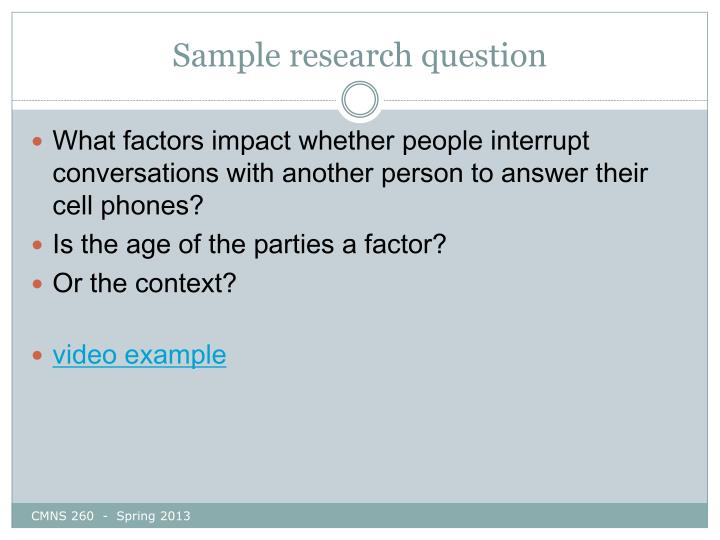 Sample research question