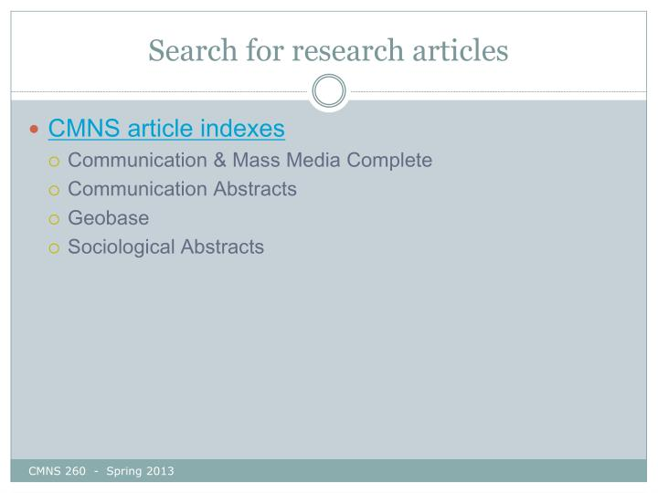 Search for research articles