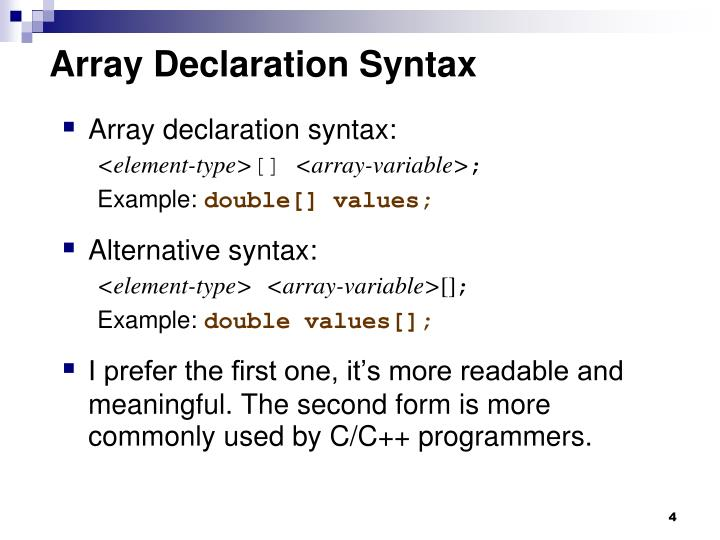 Array Declaration Syntax