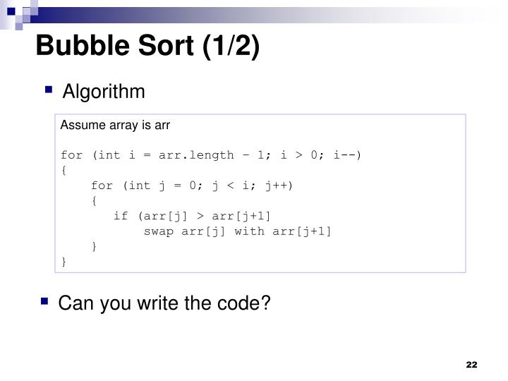 Bubble Sort (1/2)