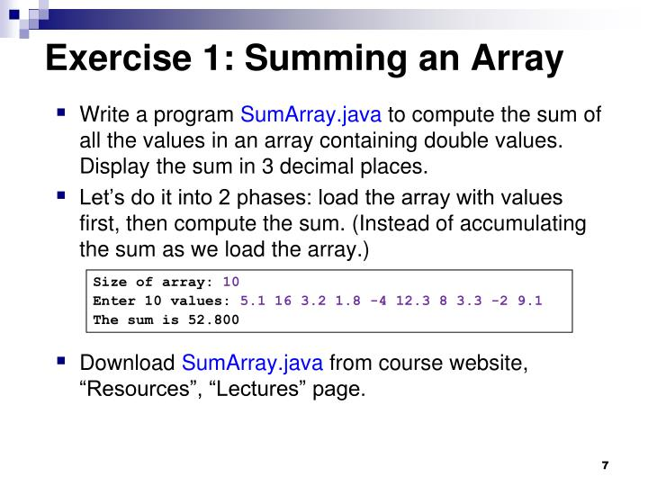Exercise 1: Summing an Array