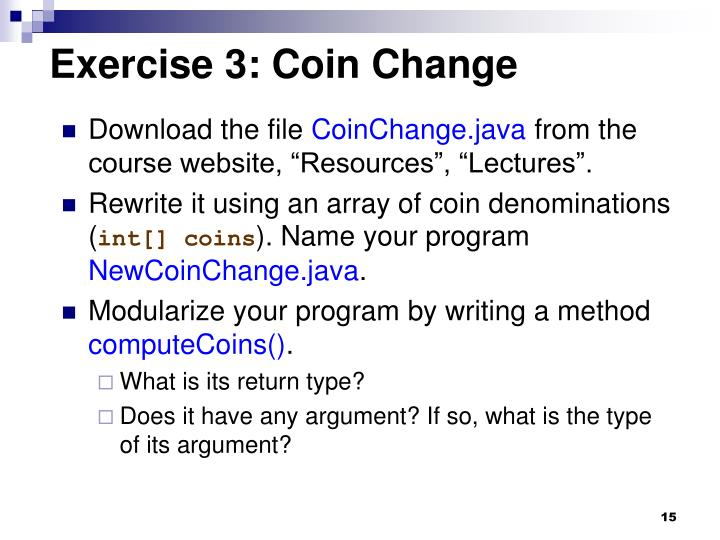 Exercise 3: Coin Change