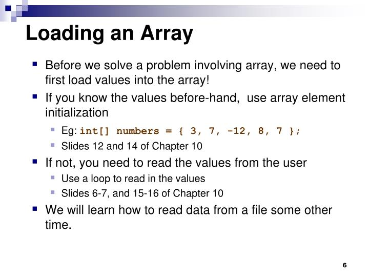 Loading an Array