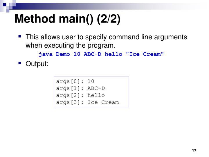 Method main() (2/2)