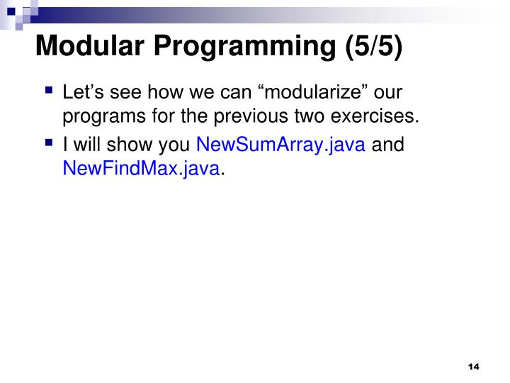 Modular Programming (5/5)