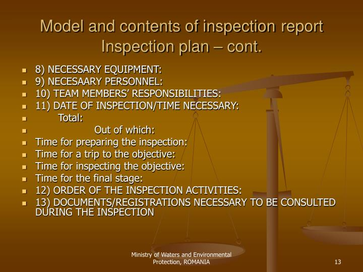 Model and contents of inspection