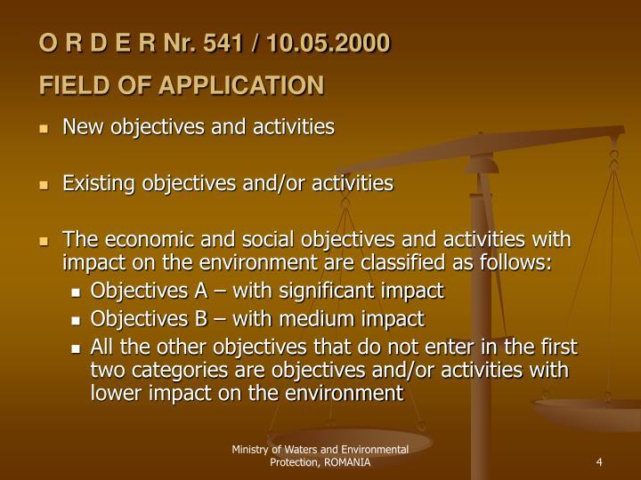 O R D E R Nr. 541 / 10.05.2000